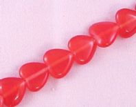16 Inch Strand 10mm Flat Heart Cats Eye Beads Red